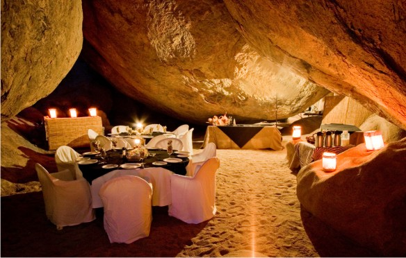 Candle light dinner under the rocks in the Namibian bush